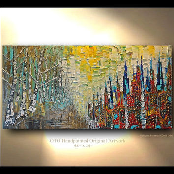 ORIGINAL 48X24 Abstract Art Landscape City Tree skyline cityscape sunset painting Heavy Texture Modern Canvas Oil acrylic Painting by OTO
