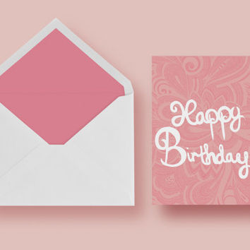 A Peach and Pink Hand-Drawn Intricate Design Happy Birthday Greeting Card
