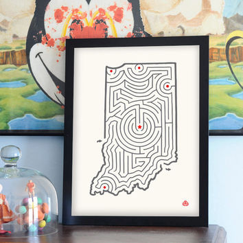 Indiana | State Maze Offset Print | 12x16""