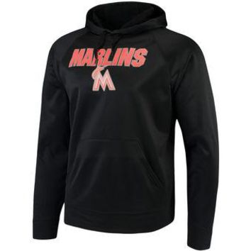 Miami Marlins Majestic MLB Black Ultra Fleece Pullover Hoodie