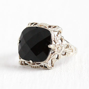 Vintage Onyx Ring - Antique Sterling Silver Filigree Checkerboard Cut - Art Deco 1930s Size 4 , 3.65 ct Black Gemstone Flower Uncas Jewelry