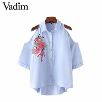 Women sexy off shoulder flower embroidery shirts cut out oversized loose blouse three quarter sleeve casual tops