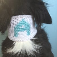 Custom Monogrammed Dog Scarf - Crochet Dog Clothes - Dog Winter Hat - Soft Collar Cover - Initial Dog Clothing - Large Dog - Small Dog