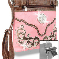* Concealed Carry Western Embroidered Cross Body Sling In Peach-Brown