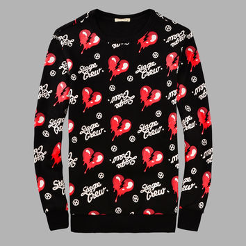 Stylish Heart Print Round-neck Pullover Long Sleeve Fleece Couple Hoodies [6544260099]