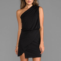 Mason by Michelle Mason Asymmetric Leather Trim Mini Dress in Black from REVOLVEclothing.com