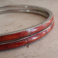 Sponge Coral Bangles Set of Two Red Bracelets Orange Vintage 011918RV2