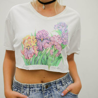 vtg 90's kawaii pale floral crop top, pastel iris flowers tee shirt, 1990s ironic vtg tumblr soft grunge vaporwave, urban outfitters