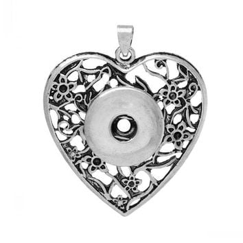 Fashion Charm Pendants Heart Antique Silver for Snap Jewelry