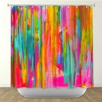 DiaNoche Designs Shower Curtains by Arist Jackie Phillips Unique, Cool, Fun, Funky, Stylish, Decorative Home Decor and Bathroom Ideas - Neon Double Abstract