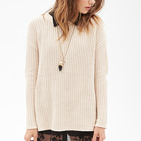 FOREVER 21 Longline Ribbed Knit Sweater