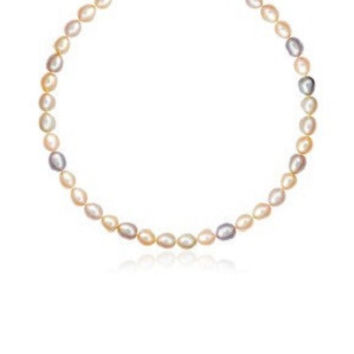Pastel multi color pearl necklace with a 14k yellow gold clasp