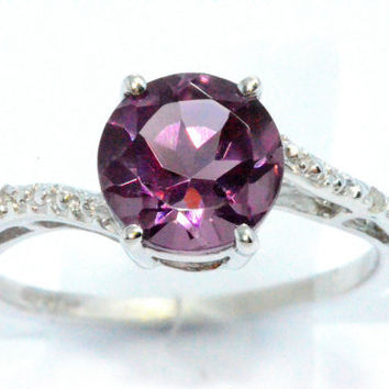 1.5 Carat Alexandrite Diamond Ring .925 Sterling Silver Rhodium Finish White Gold Quality