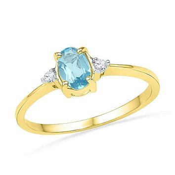 10kt Yellow Gold Women's Oval Lab-Created Blue Topaz Solitaire Diamond Ring 1.00 Cttw - FREE Shipping (US/CAN)