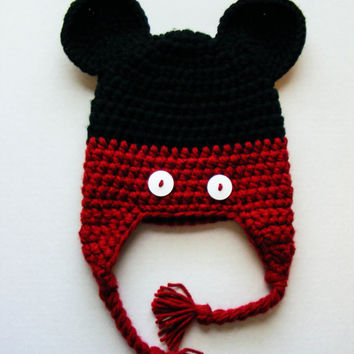 Mickey Mouse Inspired Crochet Hat With Earflaps and Braided Straps Choose Yellow or Red Trim