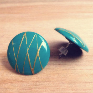 Vintage Teal and Gold Button Earrings