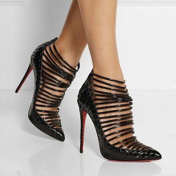 Women Pumps Gladiator Sandals Sexy Women's Shoes Genuine Leather Cut-Outs Boots Thin Heels High Heels Pointed Toe Shoes WomanC80