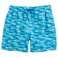 Shark Frenzy Swim Trunk in Scuba Blue by Southern Tide