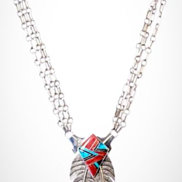 2 Feathers Turquoise and Spiny Oyster Inlay Necklace