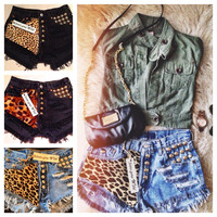 LEOPARD High waisted denim shorts super frayed with print and studs size S/M/L/XL