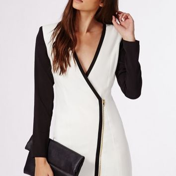 Missguided - Chere Monochrome Tux Dress