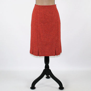 Orange Skirt Rust Skirt Wool Skirt Women Small Midi Skirt Size 6 Skirt Fall Skirt Tweed Skirt Pleated Hem Talbots Womens Clothing