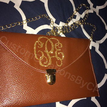 Monogram Clutch Purse / Gold Chain / Faux Leather / Glitter