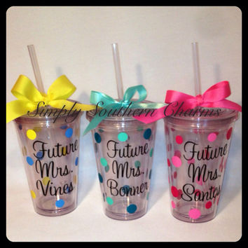 1 Personalized Future Mrs. 16oz Acrylic Tumbler, Wedding Party Glass