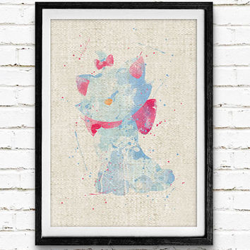 Disney Marie Cat Watercolor Art Print, Baby Room, Nursery Wall Art, Home Decor, Not Framed, Buy 2 Get 1 Free!