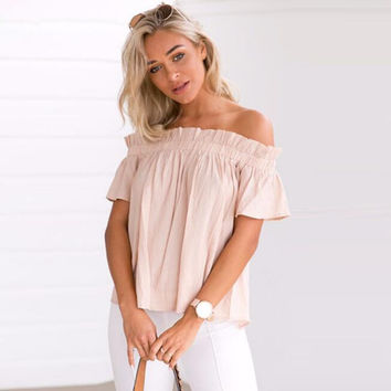 Off Shoulder Plain Blouse  12336