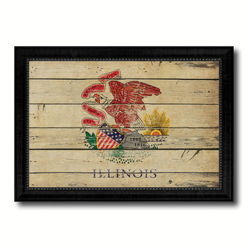 Illinois State Vintage Flag Canvas Print with Black Picture Frame Home Decor Man Cave Wall Art Collectible Decoration Artwork Gifts