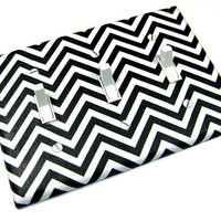 Black and White Chevron Triple Light Switch Cover Zigzag Zig Zag Modern Home Decor