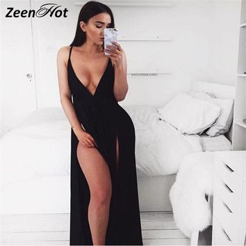 Women Backless Dress Sexy Club High Split Dress Sleeveless Black Double High Slit Maxi Party Dress Vestido De Festa