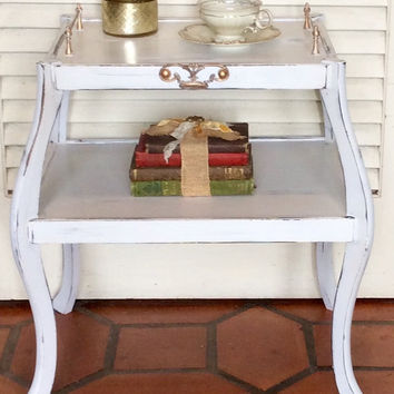 White End Table Shabby Chic 1940s