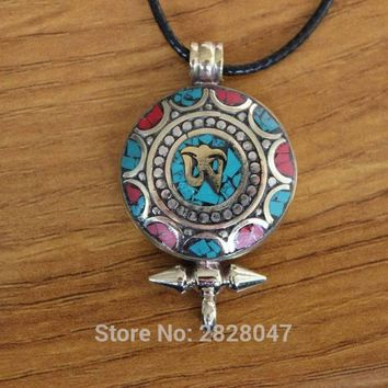 Tibetan Copper Colorful Stone Mantra Om Amulet Handmade in Nepal