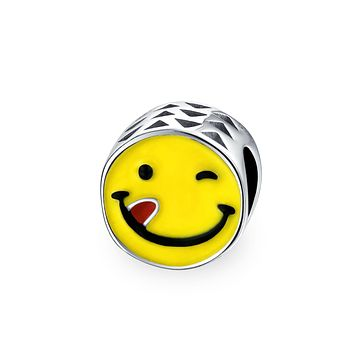 Smiley Face Tongue Out Emoticon Yellow Charm Bead Sterling Silver
