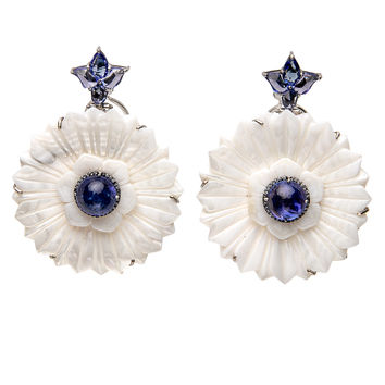 Indian Mother of Pearl Floral Earrings