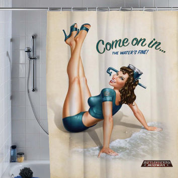 sexy retro vintage pin up girl (4) shower curtain, custom shower curtain.