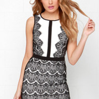 Act the Part Ivory and Black Bodycon Lace Dress
