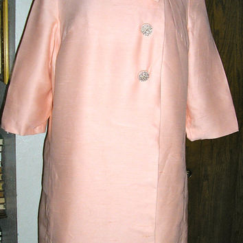 60s peach silk cocktail coat and dress set medium formal dress Grossman Jackie O Audrey