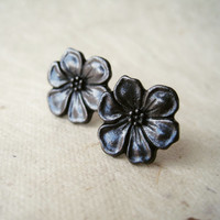 Black Flower Earrings. Gunmetal Jewelry. Apple Blossom Stud Earrings. Floral Earrings. Charcoal Grey Earrings. FSE1