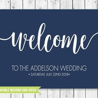 Welcome to our Wedding Sign, Navy Wedding Welcome Sign, Navy Wedding Sign, Navy Wedding Decor, Navy Welcome, PRINTABLE WEDDING SIGN - 16x20