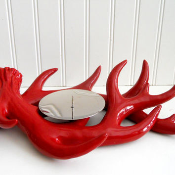 50% OFF Red Antler Candle Holder / Up Cycled Painted / Vintage Upcycled/ / Pop Art / Nature / Woods / Hunting /Cabin Decor