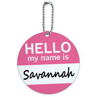 Savannah Hello My Name Is Round ID Card Luggage Tag
