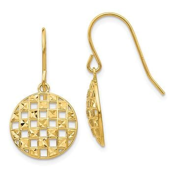 Circle Cut Out Drop Earrings in 14k Yellow Gold
