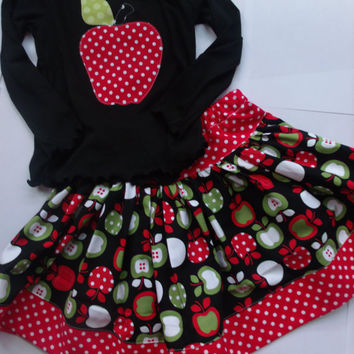 Girls Apple Fall Skirt Set Fall Skirt Applique Apple Top Toddler Skirt Girl Skirt Michael Miller Fabric Twirly Skirt Ruffle Skirt Skirt Set