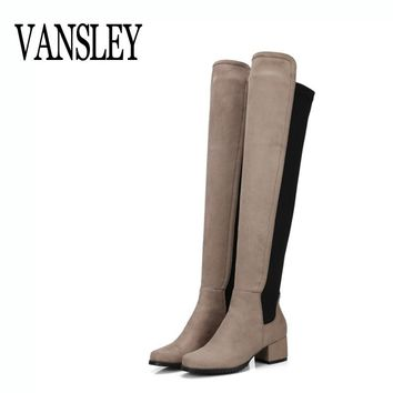 Large Size 34-43 2017 New Women Long Boots Stretch Faux Suede Over The Knee Boots Flat Thigh High Sexy Boots Shoes Femme