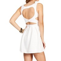 Off White Heart Shape Open Back Dress