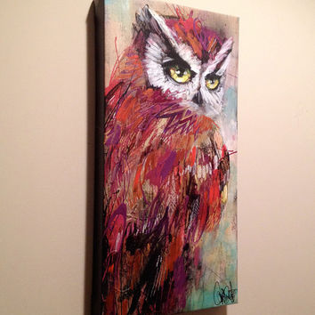 "Owl Art - Giclee Canvas Reproduction - Bird Wall Art - ""Wiseneyemer"" by Black Ink Art"