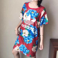 """Adidas"" Fashion Casual Multicolor Flower Print Loose Short Sleeve T-shirt Mini Dress"
